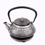 Lucky Cast Iron Tea Pot with Stand, 0.8L, Silver