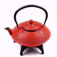 Large Cast Iron Tea Pot with Stand, 1.15L, Red