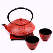 Large Cast Iron Tea Pot with Stand and 2 Cups, 0.8L, Red