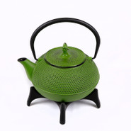Large Cast Iron Tea Pot with Stand, 1.2L, Green