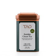 An organic Chinese green tea infused several times with the scent of fresh jasmine flowers.