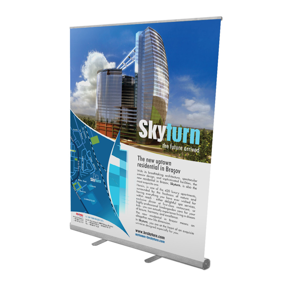 """57"""" Retractable Roll Up Banner Stand with Print"""