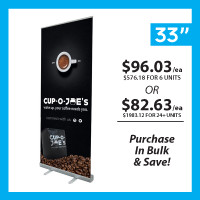"33"" Retractable Roll Up Banner Stand with Print"
