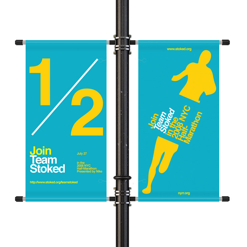 "Light Pole Sign Brackets: 18"" Street Light Pole Banner Double Bracket Set (LPBDB18"