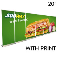 20ft. Retractable Banner Stand Wall - Premium Trade Show Backdrop