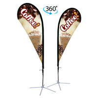 11ft. Double Sided Custom Teardrop Advertising Flag Kit with Banner