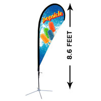 8ft. Custom Teardrop Advertising Flag Kit with Banner
