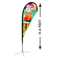 11ft. Custom Teardrop Advertising Flag Kit with Banner