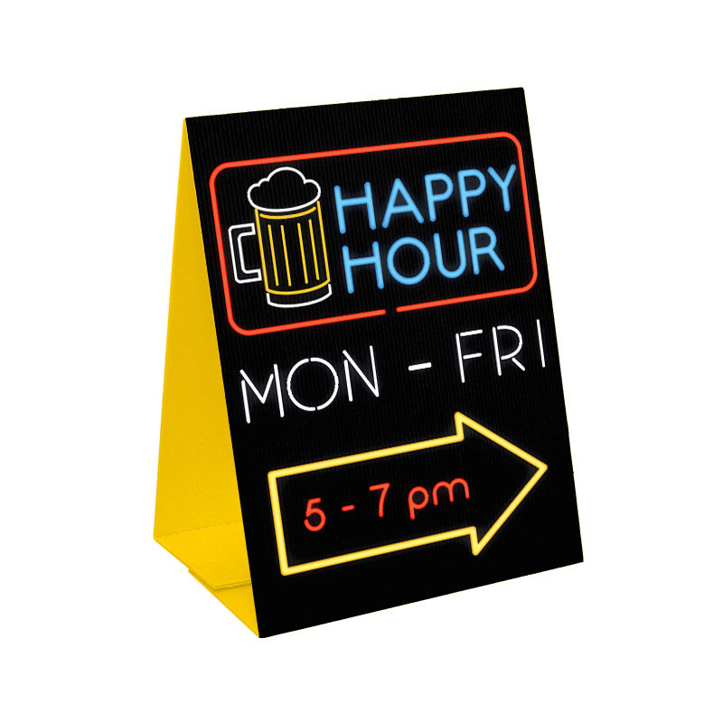 Happy Hour Sandwich Board Corrugated Plastic A Frame Sign