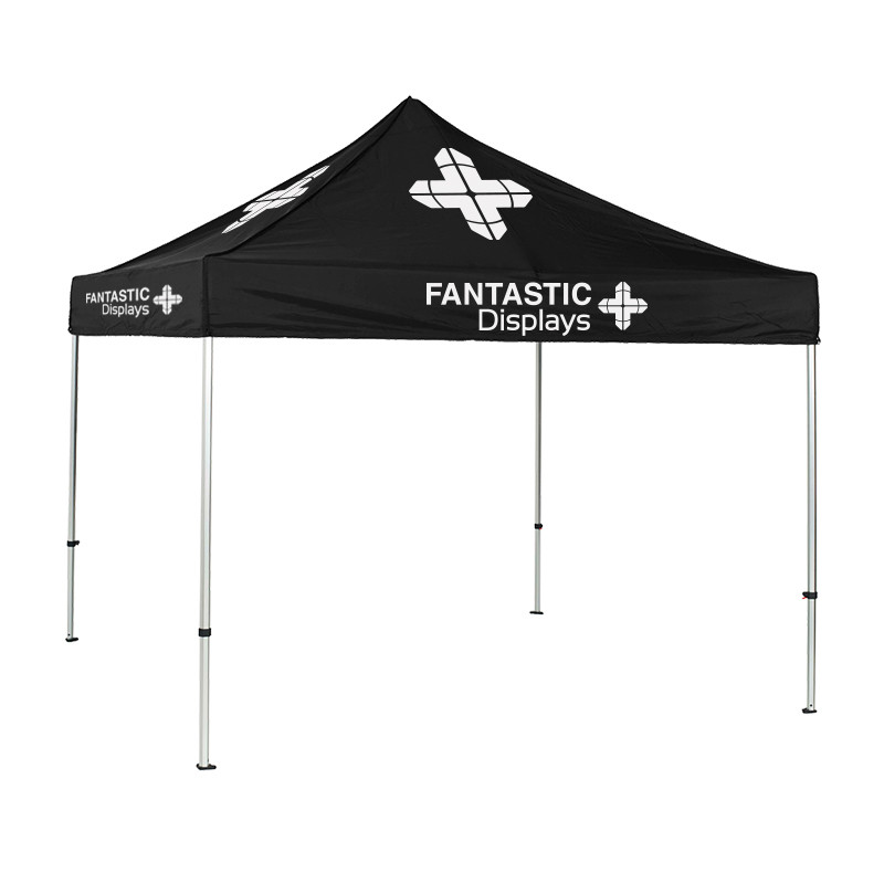 10x10 Black Trade Show Event Canopy With Custom Logo Ct01k