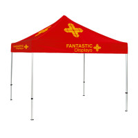 10x10 Red Trade Show Event Canopy With Custom Logo