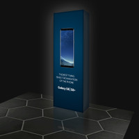 2.5ft LED Backlit Pop Up Pillar Display With Silicone Edge Graphics