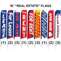 "16ft. Full Color ""Real Estate"" Advertising Flag Banner Kits"