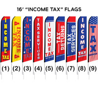 "16ft. Full Color ""Tax Preparation"" Advertising Flag Banner Kits"