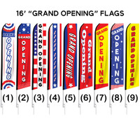 "16ft. Full Color ""Grand Opening"" Advertising Flag Banner Kits"