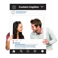 "Custom Printed Selfie Frame for Social Media Marketing - In ""Black"" Photography Booth Prop (Digital Files or Corrugated Plastic)"