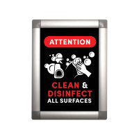 Social Distancing Clean & Disinfect Snap Open Poster Frame with Print