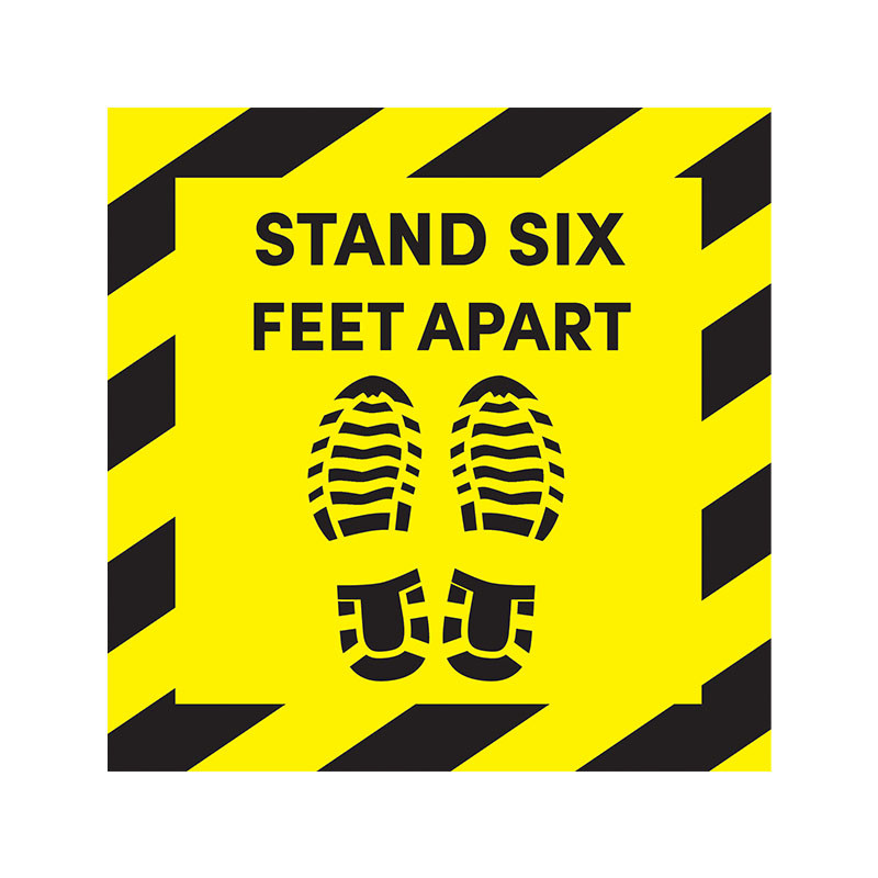 """Social Distancing """"Stand Six Feet Apart"""" Floor Sign Decal"""