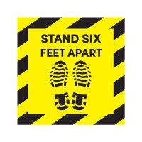 Social Distancing - Stand Six Feet Apart Floor Sign Decal (Pack of 6)