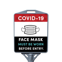 Social Distancing - Face Must Be Covered PPE Restaurant, Store, & Office Outdoor Cone Poster Sign with Print