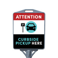 Social Distancing - Curbside Pickup Here Restaurant Sign Outdoor Cone Poster Sign with Print