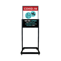 Social Distancing - Carryout, Takeout, Curbside Pickup & Delivery Only Restaurant Sign Heavy Duty Poster Holder Sign with Print