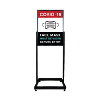Social Distancing - Face Must Be Covered PPE Restaurant, Store, & Office Heavy Duty Poster Sign Holder with Print