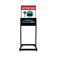 Social Distancing - Curbside Pickup Here Restaurant Sign Heavy Duty Poster Holder Sign with Print