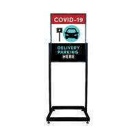 Social Distancing  - Delivery Parking Here Restaurant Sign Heavy Duty Poster Sign Holder with Print
