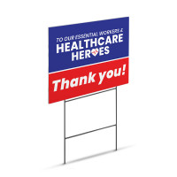"Essential & Healthcare Workers Appreciation Sign - Large 18"" x 24"" Lawn Yard Sign Printed On Both Sides"