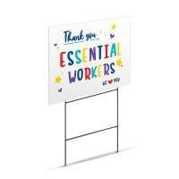 "Thank You Essential Workers We Love You Appreciation Sign - Large 18"" x 24"" Lawn Yard Sign Printed On Both Sides"
