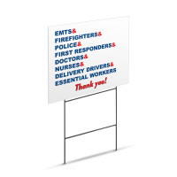 "Thank You Healthcare & Essential Workers Appreciation Sign - Large 18"" x 24"" Lawn Yard Sign Printed On Both Sides"