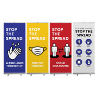 Social Distancing Stop the Spread Banner Stand Wall