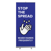"Social Distancing Wash Hands Frequently Stop The Spread Pull Up Sign 33"" x 78"" Roll Up Retractable Banner Stand"