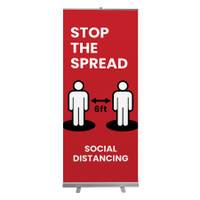 "Social Distancing 6 Feet Apart Stop The Spread Pull Up Sign 33"" x 78"" Roll Up Retractable Banner Stand"