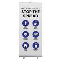 "Social Distancing Let's Work Together Stop The Spread Pull Up Sign 33"" x 78"" Roll Up Retractable Banner Stand"