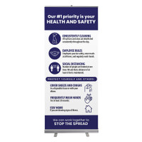 "Social Distancing Health and Safety Stop The Spread Pull Up Sign 33"" x 78"" Roll Up Retractable Banner Stand"
