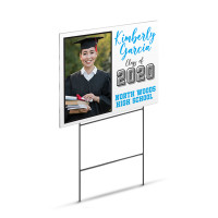 "Graduation Yard Sign with Image - Large 18"" x 24"" Lawn Yard Sign Printed On Both Sides"