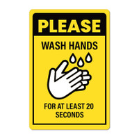 "Hand Washing 12"" x 18"" PVC Wall Sign (English or Spanish)"
