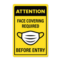 "Face Cover PPE Required 12"" x 18"" PVC Wall Sign (English or Spanish)"