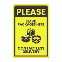 "Leave Packages Here Contactless Delivery 12"" x 18"" Aluminum Metal Sign (English or Spanish)"