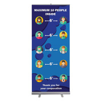 "Social Distancing Limited Capacity Pull Up Sign 33"" x 78"" Roll Up Retractable Banner Stand"