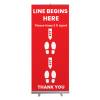 "Social Distancing Line Begins Here Pull Up Sign 33"" x 78"" Roll Up Retractable Banner Stand"