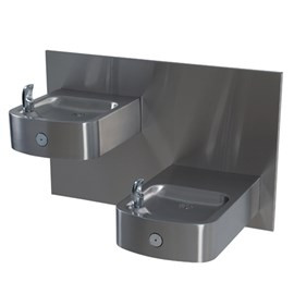 14-Gage Stainless Steel Box Barrier-Free Wall Mount Bi-Level Drinking Fountain