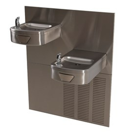 Rounded Box Chilled Barrier-Free Wall Mount Bi-Level Drinking Fountain