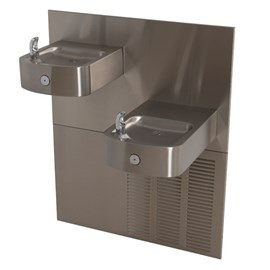 14-Gage Stainless Steel Box Chilled Barrier-Free Wall Mount Bi-Level Drinking Fountain