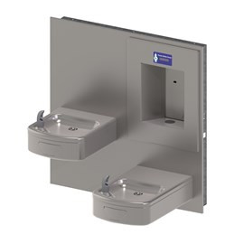 Rounded Box Barrier-Free Wall Mount Bi-Level Drinking Fountain with Sensor Activated Bottle Filler