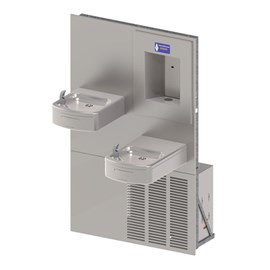 Rounded Box Chilled Barrier-Free Wall Mount Bi-Level Drinking Fountain with Sensor Activated Bottle Filler