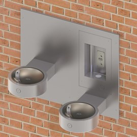 Recessed Outdoor Bottle Filler with Bi-Level Round Drinking Fountain