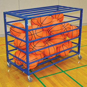 Stores up to 28 basketballs or 35 volleyballs